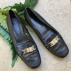 Prada black leather loafers .💓